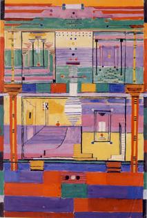 Gunta Stölzl, preparatory watercolor for weaving, 1924