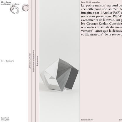 Pli Revue - Architecture et édition / 04 - Matière(s)