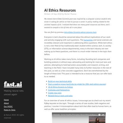 AI Ethics Resources · fast.ai