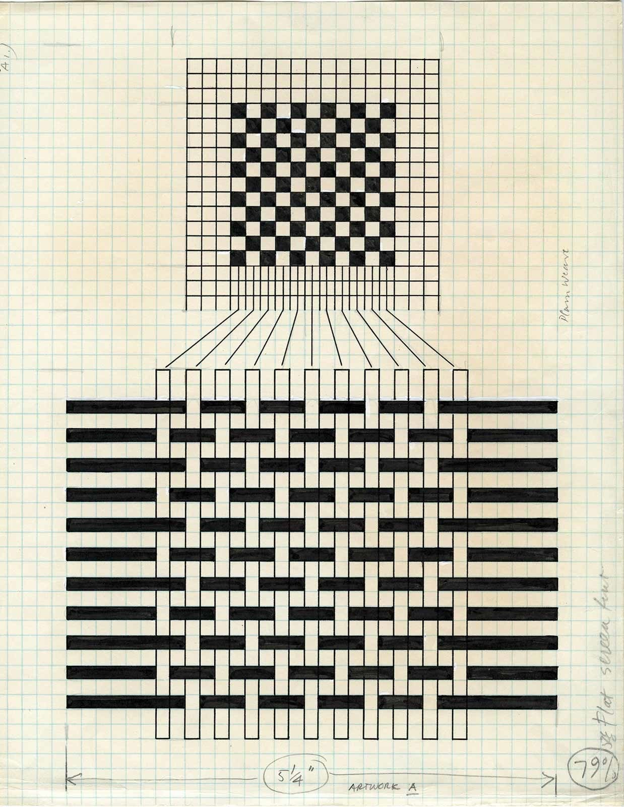 Annie Albers, diagram showing draft notation for a plain weave, ca. 1965
