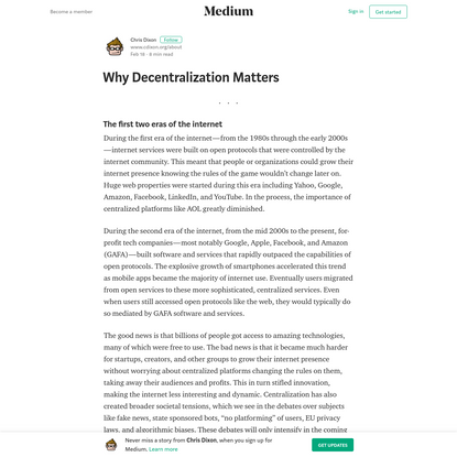 Why Decentralization Matters - Chris Dixon - Medium