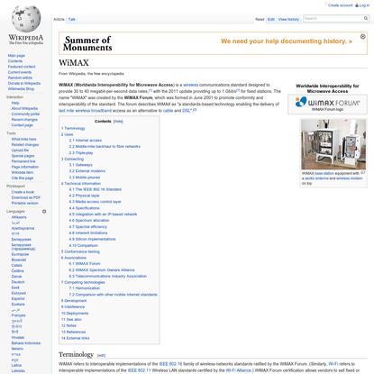 WiMAX - Wikipedia, the free encyclopedia