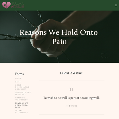 Reasons We Hold Onto Pain