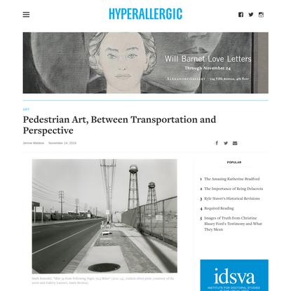 Pedestrian Art, Between Transportation and Perspective