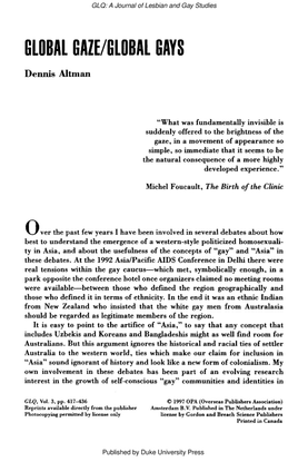 GLOBALGAZE/GLOBAL GAYS - Dennis Altman