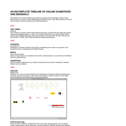 AN INCOMPLETE TIMELINE OF ONLINE EXHIBITIONS AND BIENNIALS