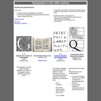 Typography in the 16th century