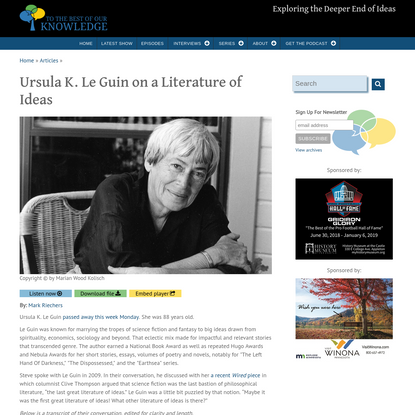 Ursula K. Le Guin on a Literature of Ideas
