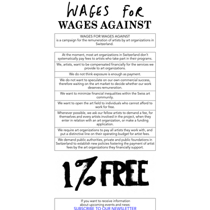 WAGES FOR WAGES AGAINST
