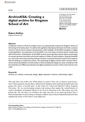ArchiveKSA: Creating a digital archive for Kingston School of Art