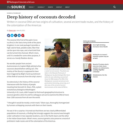 Deep history of coconuts decoded | The Source | Washington University in St. Louis