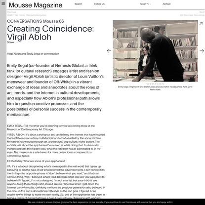 Creating Coincidence: Virgil Abloh •Mousse Magazine