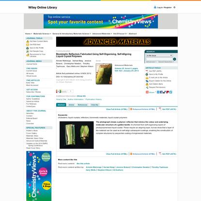 Biomimetic Reflectors Fabricated Using Self-Organising, Self-Aligning Liquid Crystal Polymers - Matranga - 2012 - Advanced Materials - Wiley Online Library