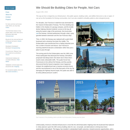 We Should Be Building Cities for People, Not Cars | Devon's Site