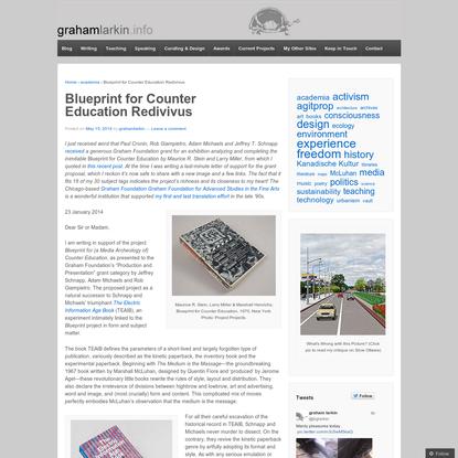 Blueprint for Counter Education Redivivus