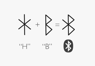 """""""Harald Bluetooth, a Viking King, united parts of Denmark and Norway. The bluetooth logo is a H and B in old Viking runes."""""""