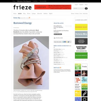 Frieze Magazine | Archive | Borrowed Energy