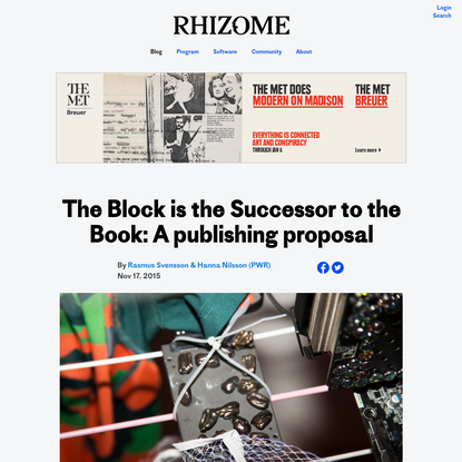 The Block is the Successor to the Book: A publishing proposal