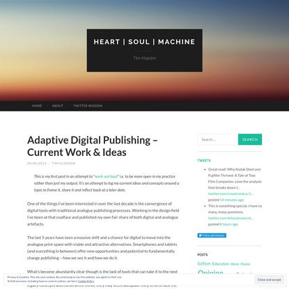 Adaptive Digital Publishing - Current Work & Ideas