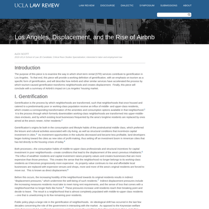 Los Angeles, Displacement, and the Rise of Airbnb - UCLA Law Review