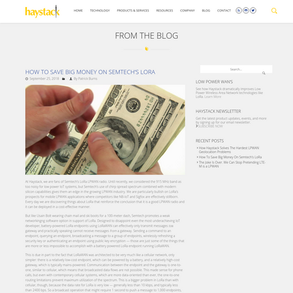 How To Save Big Money On Semtech's LoRa | Haystack Technologies