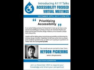A11Y Talks December 2017 - Heydon Pickering - Prioritizing Accessibility
