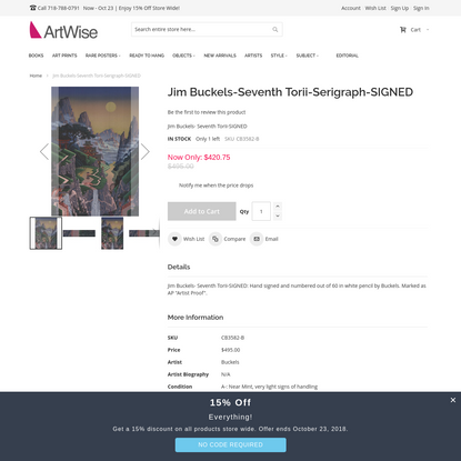 Jim Buckels-Seventh Torii-Serigraph-SIGNED