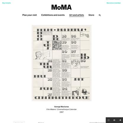 George Maciunas. Film Makers' Cinematheque Calendar. 1967 | MoMA