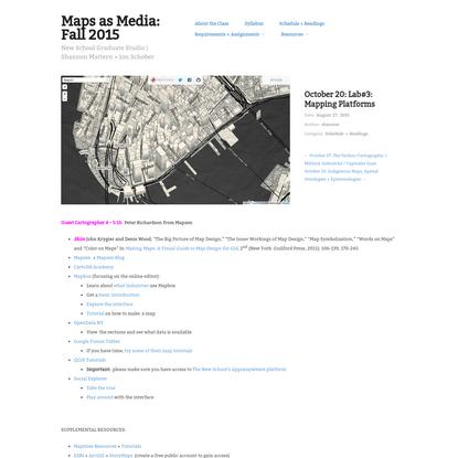 October 20: Lab#3: Mapping Platforms