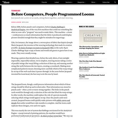 Before Computers, People Programmed Looms
