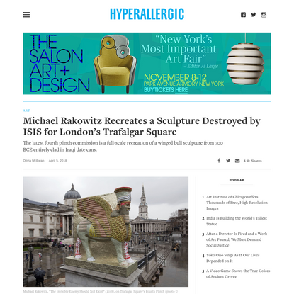 Michael Rakowitz Recreates a Sculpture Destroyed by ISIS for London's Trafalgar Square