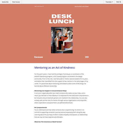Desk Lunch Issue 33 - Mentoring as an Act of Kindness - Sabrina Hall