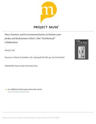 "Cheryl J. Fish, ""Place, Emotion, and Environmental Justice in Harlem: June Jordan and Buckminster Fuller's 1965 'Architextual' Collaboration"""