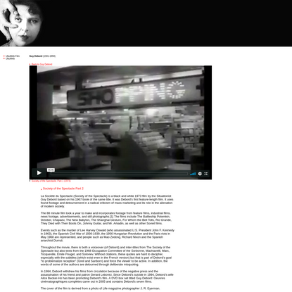 UbuWeb Film & Video: Guy Debord - Society of the Spectacle, Part 1 (1973)