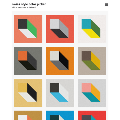 Swiss Style Color Picker | International Style Colors Scheme Palette