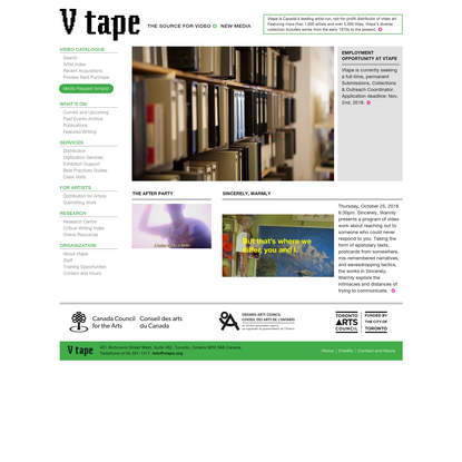 Vtape | The Source for Video and New Media