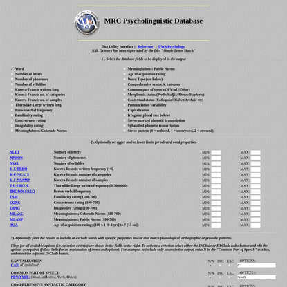 UWA Psychology: MRC Psycholinguistic Database (Dict Interface)