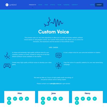 Lyrebird * Custom Voice