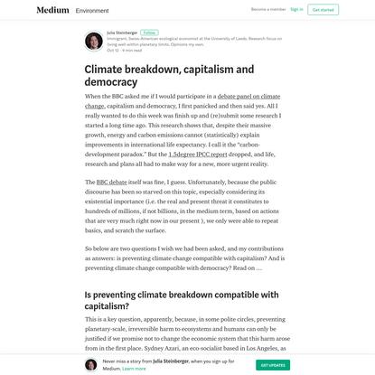 Climate breakdown, capitalism and democracy – Julia Steinberger – Medium