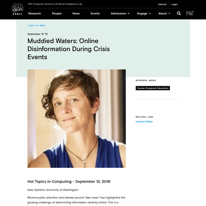 Muddied Waters: Online Disinformation During Crisis Events | MIT CSAIL