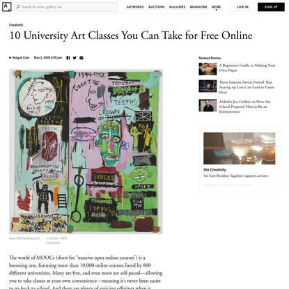 10 University Art Classes You Can Take for Free Online