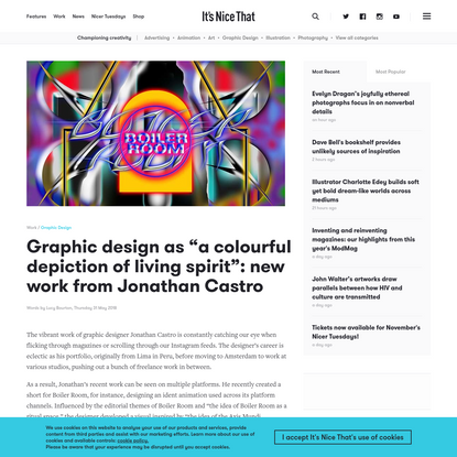 "Graphic design as ""a colourful depiction of living spirit"": new work from Jonathan Castro"