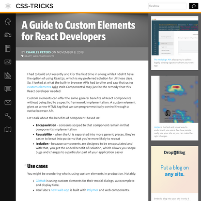 A Guide to Custom Elements for React Developers | CSS-Tricks