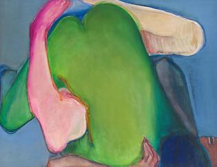 """Joan Semmel, Green Heart, 1971, oil on canvas, 48x58"""""""