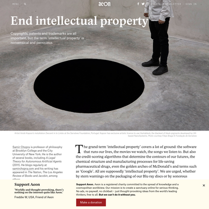 The idea of intellectual property is nonsensical and pernicious - Samir Chopra   Aeon Essays