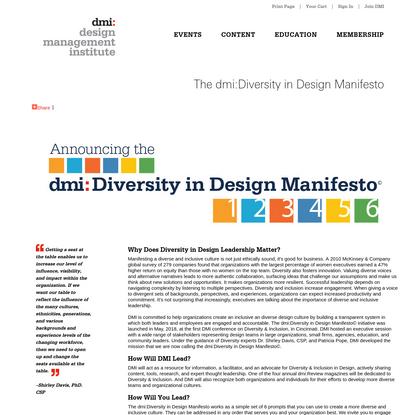 The dmi:Diversity in Design Manifesto - Design Management Institute