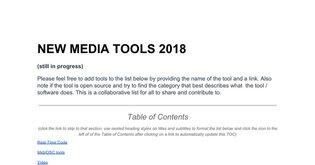 NEW MEDIA TOOLS 2017
