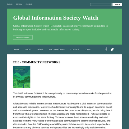 2018 - Community Networks   Global Information Society Watch