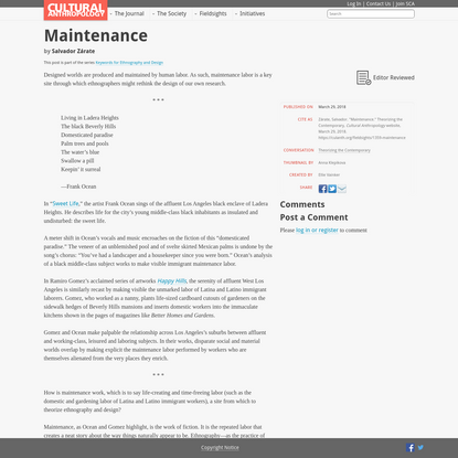 Maintenance - Cultural Anthropology