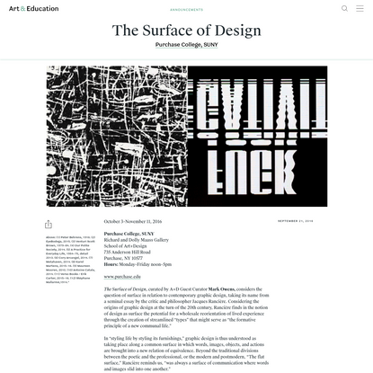 The Surface of Design - Announcements - Art & Education
